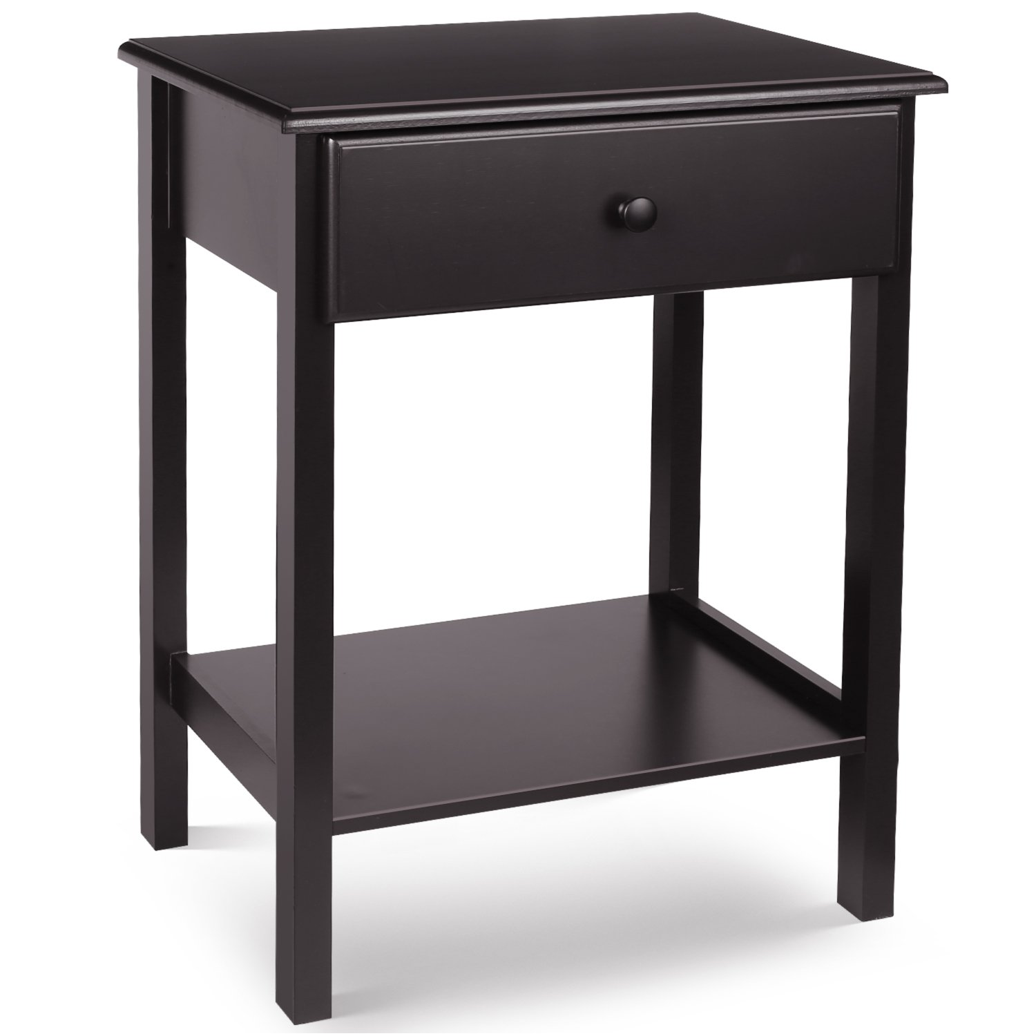HOMFA Night Stand End Table Wooden Bedside Table with Drawer and Storage Shelf Multifunctional Antique Home Furniture, Dark Brown by Homfa