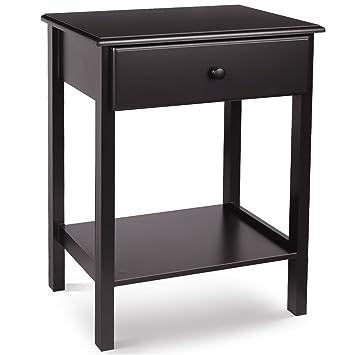 Amazon.com: HOMFA Mesita de noche con cajón y estante de ...