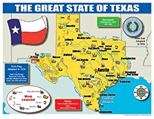 Amazoncom Gallopade Publishing Group Texas State Map For - Texas state map images