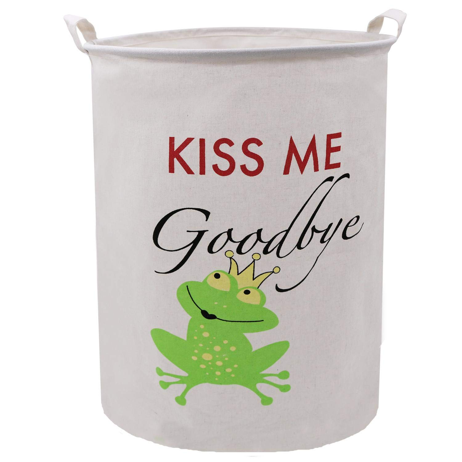 ZUEXT 19.7x15.7 Inch Large Linen Canvas Folding Laundry Basket, Laundry Storage Basket Hamper with Handles, Waterproof Gift Basket for Baby Nursery, College Dorms, Kids Bedroom(Kiss Me Goodbye Frog)