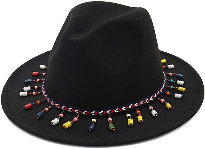 DOSOMI Men Women Wool Felt Fedora hat Felt Floppy Ribbon Band Unisex Panama Jazz Elegant Gangster Cap