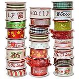 Morex Ribbon 900/24-1211 Bobina de Navidad, Paquete Variado de grogrén y Cinta de satén, 5/8 Pulgadas por 3 pies y 3/8 Pulgadas por 4 pies, Varios Colores
