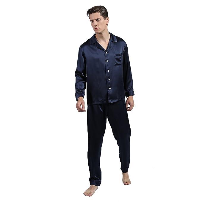 LULUSILK Conjunto de Pijama Hombre Largo de Seda 22 Momme de Solapas Bolsillo de Pecho,