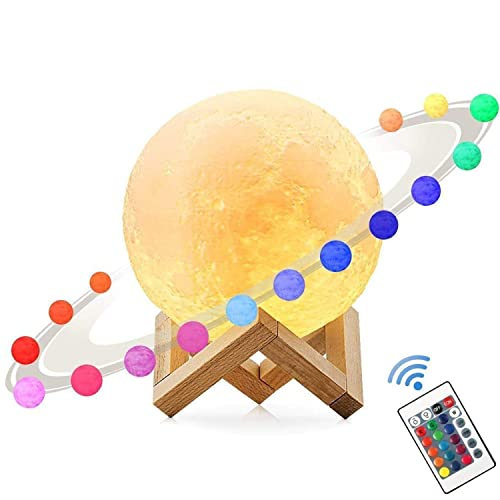 3D Moon Lamp,MUEQU USB Colour Changing Night Light,Adjustable Brightness Lunar Table Lamp Moonlight with Remote Control Home Decorative Lights for Birthday Christmas 9.45 inch 24CM