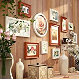 European solid wood photo wall / combination bedroom living room wall photo frame / modern photo wall shelf 11 box 164 71cm ( Color : B )