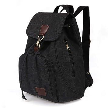 2865f8826 Women Shoulder Bag Vintage Drawstring Canvas Backpack for Work School  Travel Casual Daily (Black)