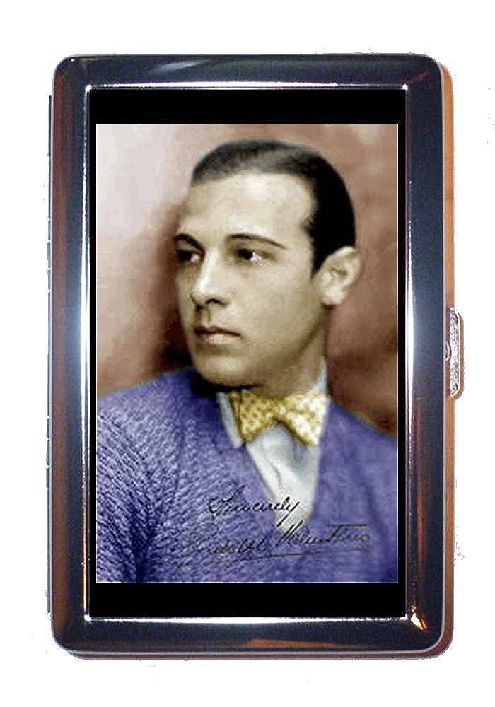 Rudolph Valentinoカラー写真で蝶ネクタイステンレススチールIDまたはCigarettesケース( Kingサイズまたは100 mm )   B00NN6U79C