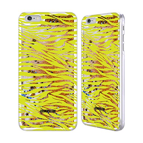Official Cosmopolitan Green Zebra Animal Skin Patterns Gold Liquid Glitter Case Cover for Apple iPhone 6 Plus / 6s Plus