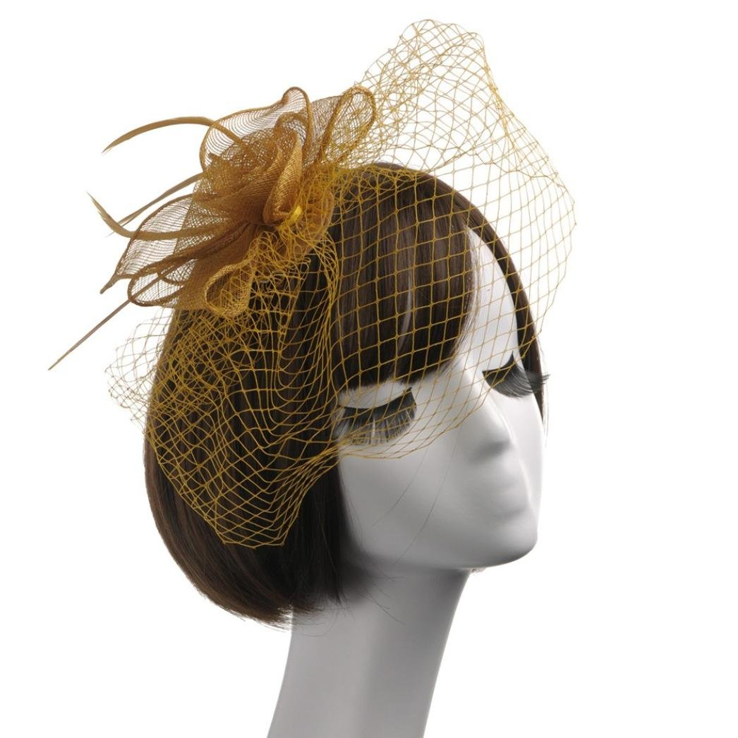 Wensltd Women Elegant Feather Fascinators Top Hat Flower Cocktail Tea Party Headwear (Gold)