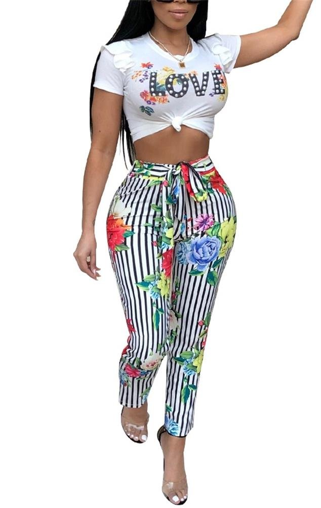 LKOUS Womens Summer Floral Print 2 Pieces Outfits Bodycon Puff Short Sleeve Crop Top and Bandage Long Pants Set