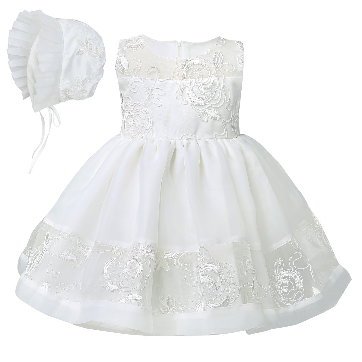 iEFiEL Vestido Bordado Blanco de Bautizo Boda + Gorro para Bebé Niña Recién Nacido Disfraz de