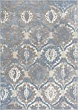 """Well Woven Allegro Blue Microfiber High-Low Pile Vintage Abstract Erased 8×10 (7'10"""" x 9'10"""") Area Rug Modern Ogee Panel Floral Oriental Carpet"""