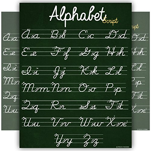 ABC Cursive Script Alphabet Poster Standard Size Chart Laminated Teaching Classroom Decoration Young N Refined (18x24)]()