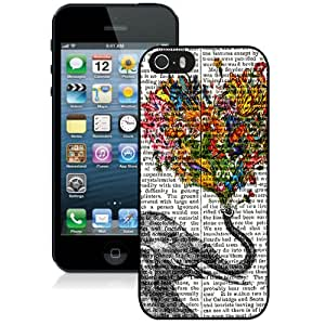 Beautiful And Unique Designed Case For iPhone 5 With Vintage Newspaper Aztec Elephant Floral Trunk Design Rubber Black Phone Case