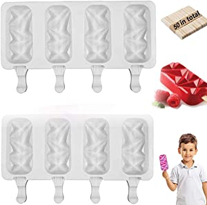 Popsicle Molds for Kids, 2 Pack 4 Cavities Cakesicle Food Grade Silicone Molds Silicone Ice Cake Pop Mold for Homemade Popsicles, DIY Popsicle Maker with 50 Wooden Sticks