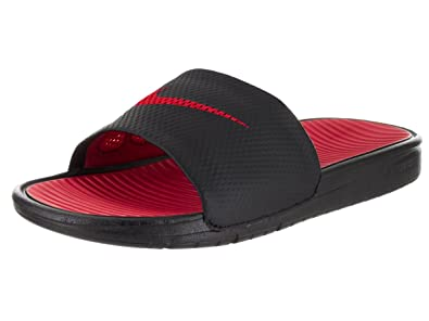 Nike Men's Benassi Solarsoft Black and Sport Red Flip-Flops and House  Slippers -11