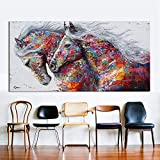 Orlco art Wall Art Picture Canvas Oil Painting Animal Home Decor Two Running Horses Printing On Canvas Home Decor Pictures Poster Colorful Decor Home 24x48inch