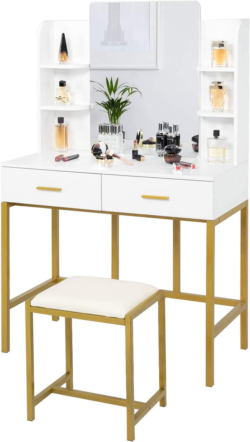 VINGLI Vanity Table Dressing Table Set with Storage Shelves & Vanity Mirror for Women Girls, Makeup Table Set with Sliding Drawers & Cushioned Stool for Bedroom