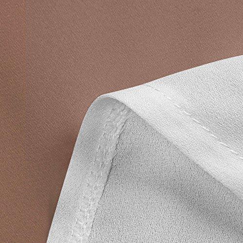 iLOOSKR Summer Casual Women's Chiffon Short Sleeve Contrast Blouse Shirts Tunic Tops(Coffee,XXXL) by iLOOSKR (Image #3)