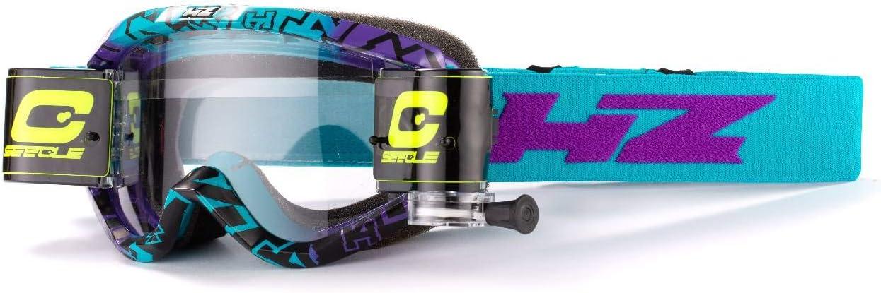 HZ Evil HZ-31WS40 maschera motocross con roll off di colore viola//acqua 36mm