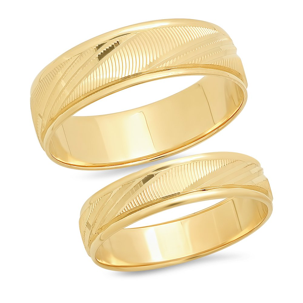 14K Solid Yellow Gold His & Hers Matching Wedding Band Ring Set Laser Cut (Choose a Size)
