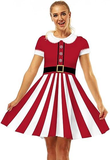 Bolanq Robe De Soiree Femme Rouge Bonhomme De Neige Robe Imprimee De Costume D Epoque Des Annees 1950 Amazon Fr Vetements Et Accessoires