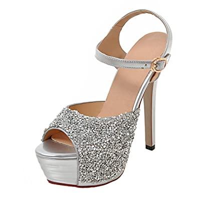 28c80193f AIYOUMEI Women Ankle Strap Glitter Peep Toe Stiletto High Heel Platform  Sandals with Buckle Elegant Pumps