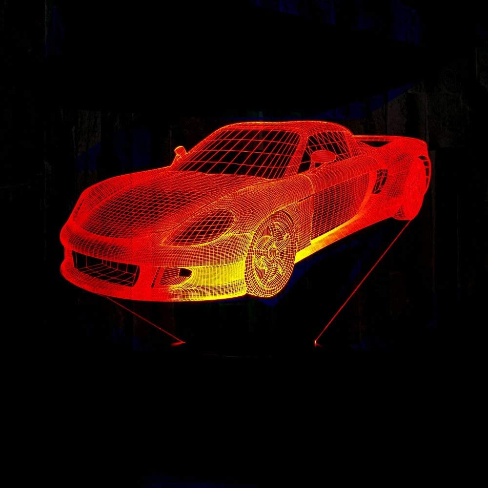 Lámpara LED de coche 3D que cambia de color Lámpara de noche LED Lámpara de ilusión 3D Iluminación de dormitorio para regalo de juguete para niños