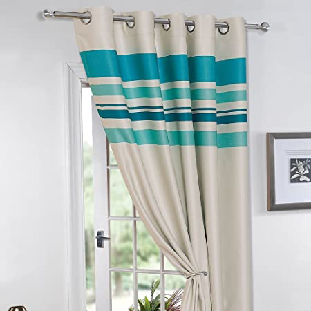 Charmant Dreamscene Eyelet Blackout Door Curtain, Polyester, Teal, 66 X 84 Inch