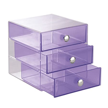 InterDesign Drawers Makeup Storage Drawers Plastic Desktop Drawer Organiser Violet  sc 1 st  Amazon UK & InterDesign Drawers Makeup Storage Drawers Plastic Desktop Drawer ...