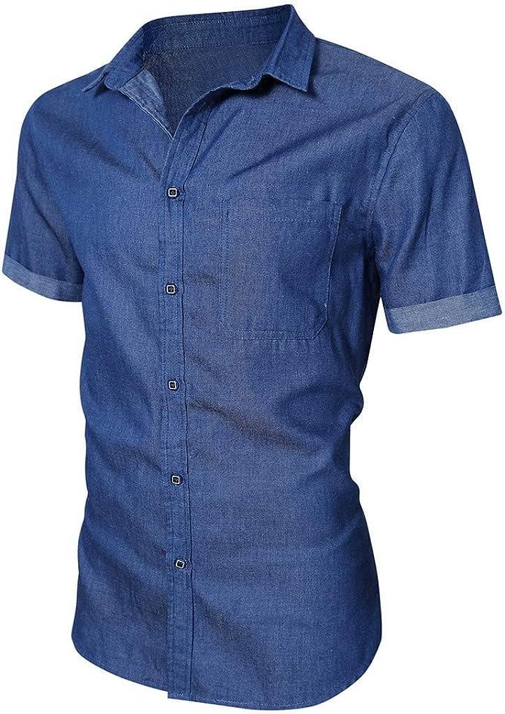 beautyjourney Camisa Slim Fit para Hombre Camisa de Mezclilla de Manga Corta Camisa Vaquera imitada Color sólido de Verano Camisas de Ocio con botón Tops: Amazon.es: Ropa y accesorios