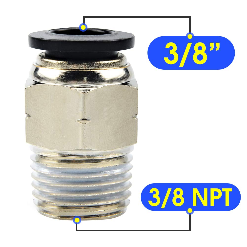 Pack of 10 Tailonz Pneumatic Male Straight 5//16 Inch Tube OD x 1//4 Inch NPT Thread Push to Connect Fittings PC-5//16-N2