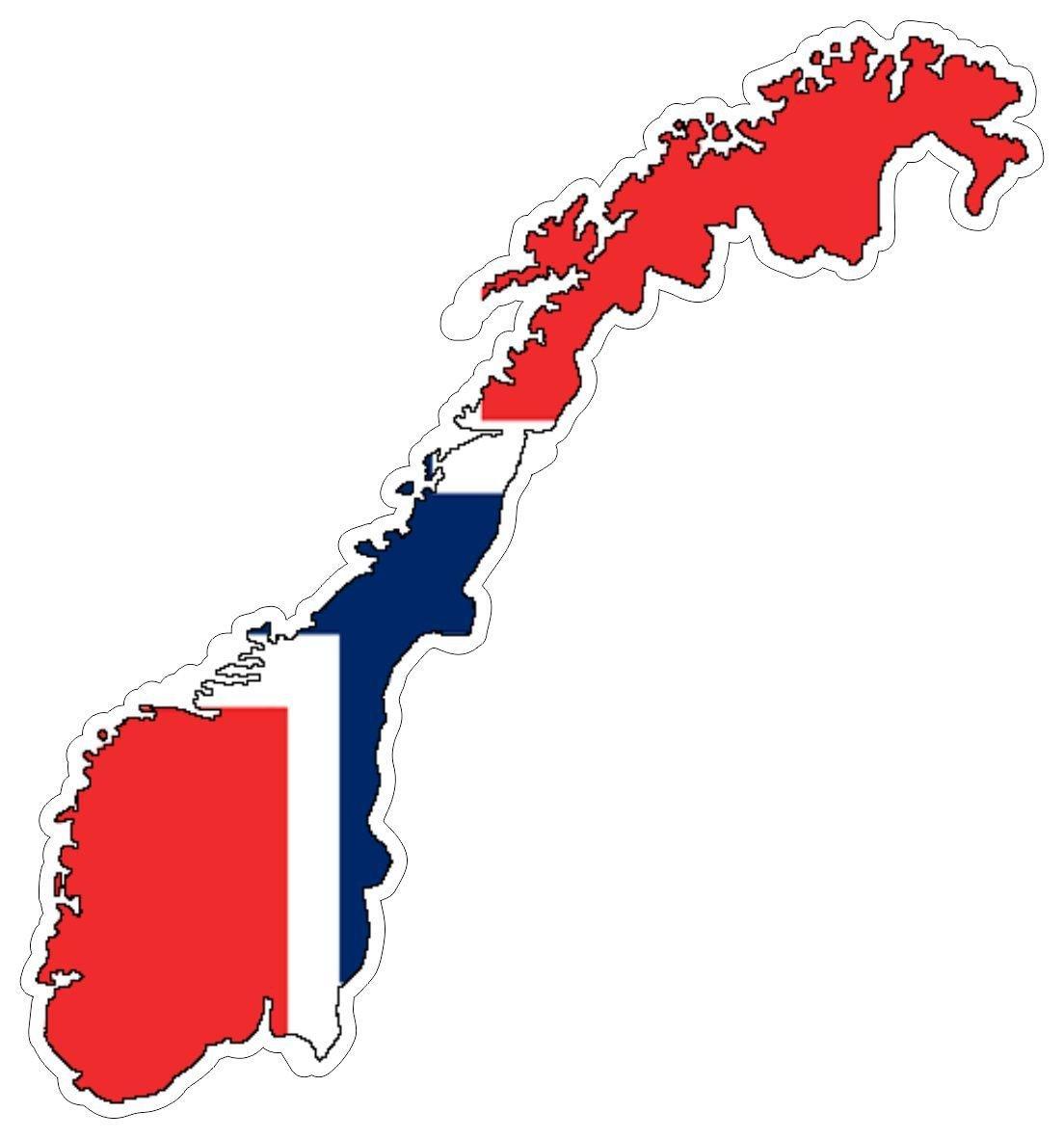 Autocollant sticker adhesif voiture vinyle drapeau carte norvege