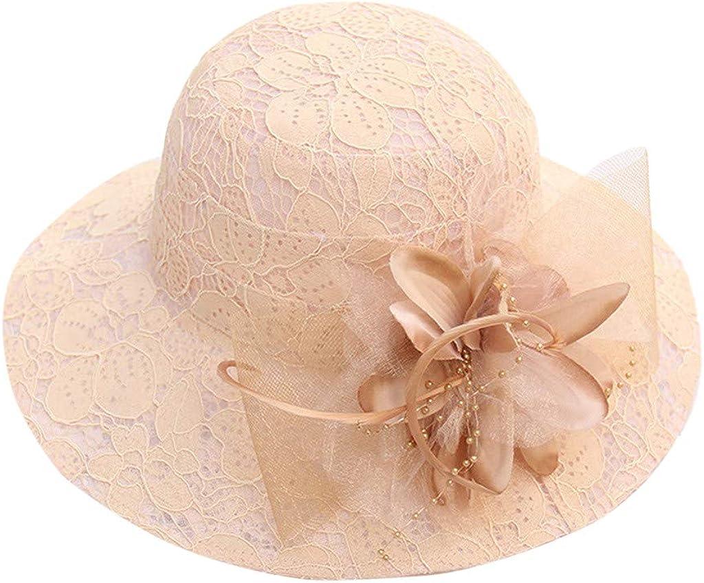 Giulot Ladies Kentucky Derby Church Hat Wide Brim Leaf Flower Bridal Dress Hat Flounce Cocktail Tea Party Club Hat