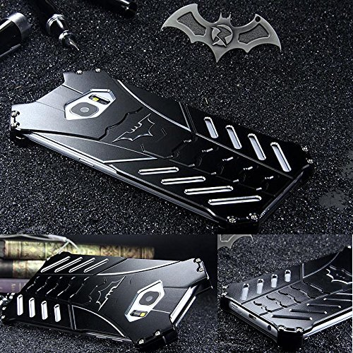 For Samsung Galaxy S8 Plus Case, R-JUST Luxury Batman Style Aluminum Shell Bumper Frame Shockproof Tough Armor Metal Back Case Skin Protective Cover + Bat Kickstand (For Samsung Galaxy S8 Plus)