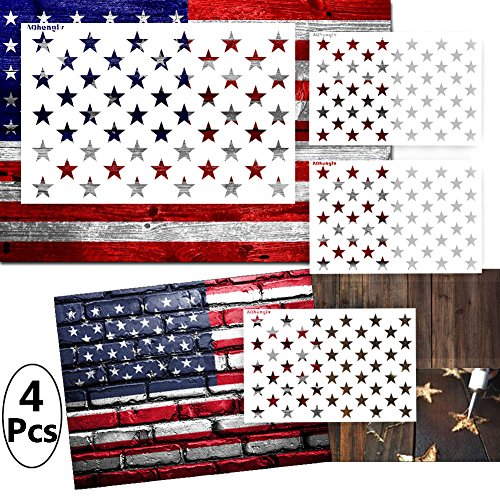4 Pack Star Stencil 50 Stars American Flag Stencils for Pain