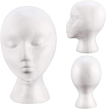 Amazon Com Female White Deflection Head Polystyrene Styrofoam Foam Head Model Stand Wig Hair Hat Headset Mannequin Head Display Stand Rack Arts Crafts Sewing