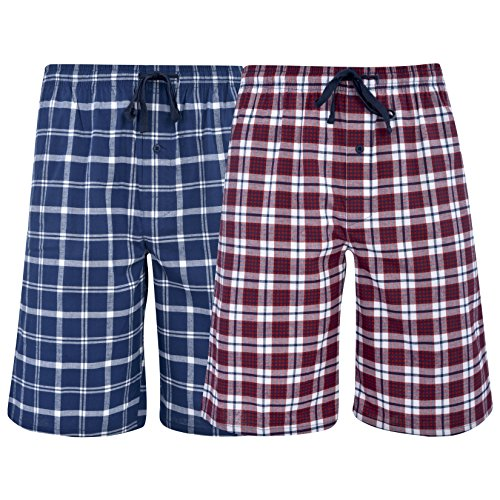 Hanes Men's & Big Men's Woven Stretch Pajama Shorts-2 Pack,Navy & Red,X-Large ()