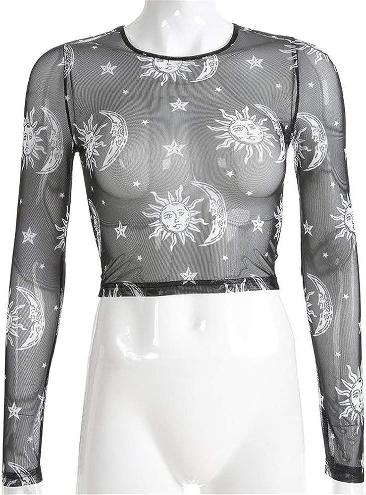 LIUHUAF Womens Long Sleeve Mock Neck Angel Print Turtleneck Sheer Mesh Crop Top