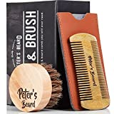 Beard Comb and Brush Set for Men - Wooden Beard Comb Sandalwood Beard Comb - Natural Horse Hair Bristle Brush - Perfect for Beard Balms & Oils - Soften and Condition Itchy Beards - 2 Year Warranty