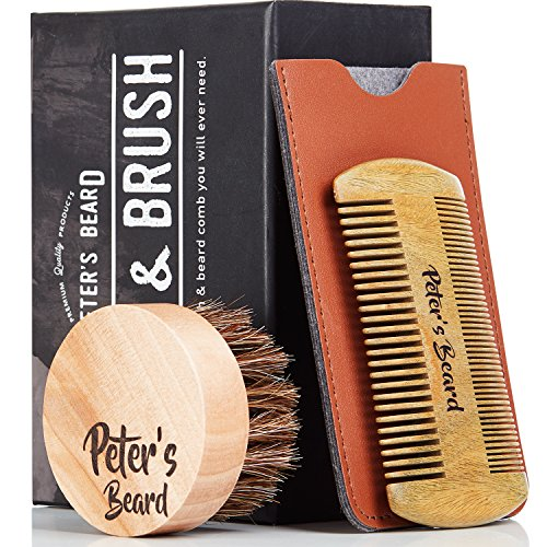 Beard Comb and Brush Set for Men - Wooden Beard Comb Sandalwood Beard Comb - Natural Horse Hair Bristle Brush - Perfect for Beard Balms & Oils – Soften and Condition Itchy Beards - 2 Year Warranty