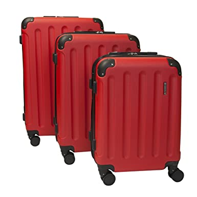 4da213ccb Performa Red Spinner Carry On Luggage Set TSA Approved Lock 3 Piece  Hardside 21 inch 25, 28 inch Luggage: Amazon.co.uk: Clothing