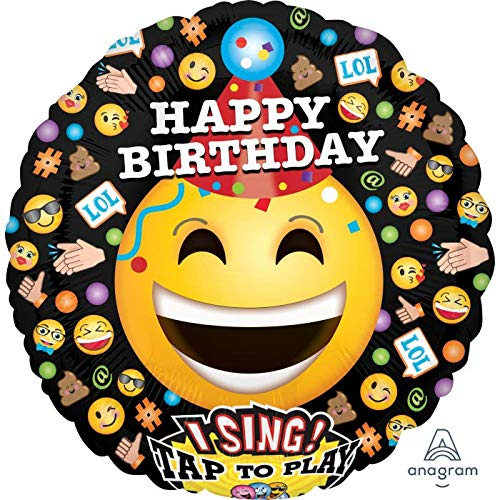 Happy Birthday 28'' Emoji Singing Balloon Mylar Balloon Birthday Party Decorations Supplies