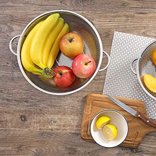 Yifuty Edelstahl Ablass Reis Filter/Filter, Kunststoff Gemüsehohlhaushalt Obst Becken mit Griffen, Küche Gemüse und Obst, Waschkorb (Größe : L)