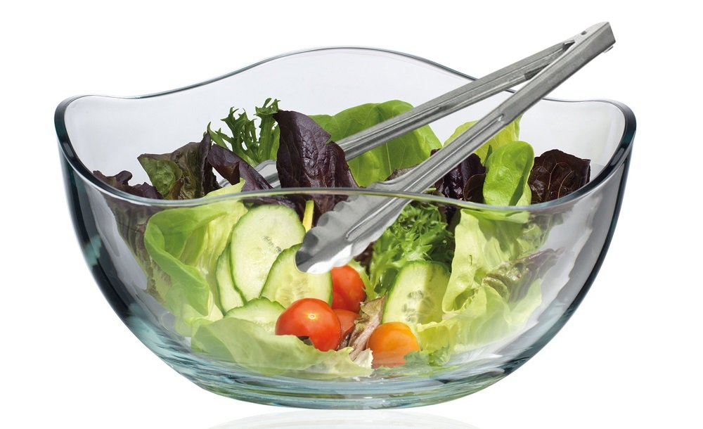 Large Wave Round Glass Salad Serving Bowl, with Salad Tong Serving Utensil