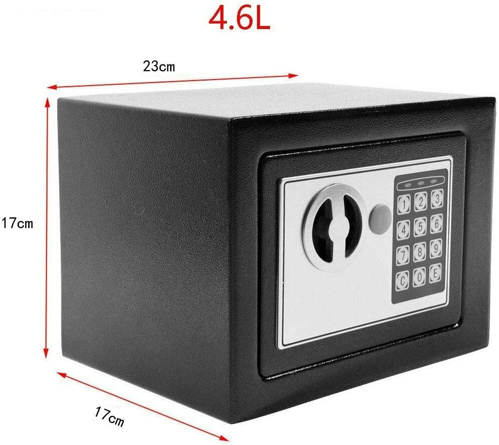23 x 17 x 17cm Black Digital Safe Box with Keys Waterproof Wall Mounted Strong Steel Safe Security Box for Office Home School Hotel Small Safe