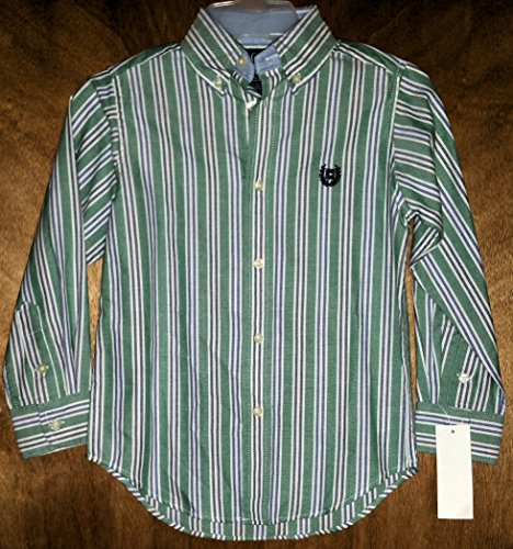 Chaps Green w/ Blue and Black Stripes Button Down Long Sleeve Shirt for Boys - Size (5)