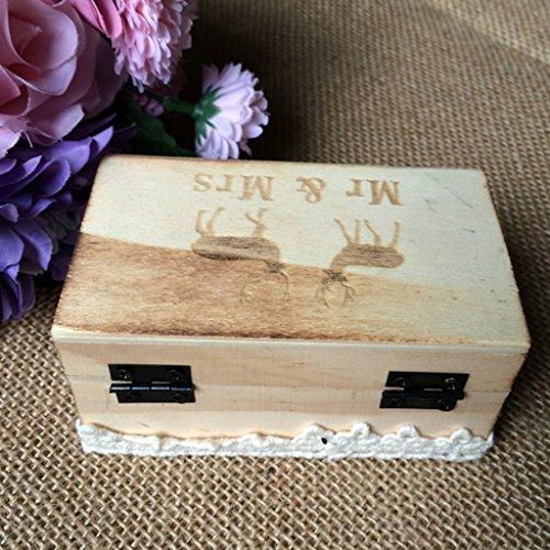 Jili Online Wedding Party Wooden Ring Bearer Box Ring Box Ring Pillow Box Lover Gift Box by Jili Online (Image #6)