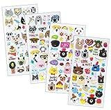 SET043-HAPPYPET - 4 Sheets Happy Animal Reusable Puffy Stickers (Cat, Panda, Dog, Bear, Panda, Puddle etc.) Size 3.5 X 7.5 Inch./sheet