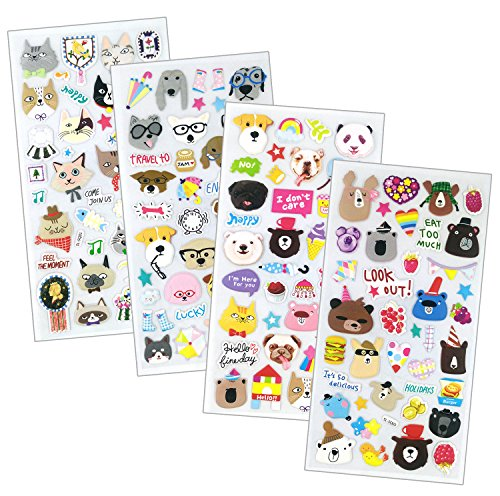 SET043-HAPPYPET - 4 Sheets Happy Animal Reusable Puffy Stickers (Cat, Panda, Dog, Bear, Panda, Puddle etc.) Size 3.5 X 7.5 (Cat Dog Halloween)